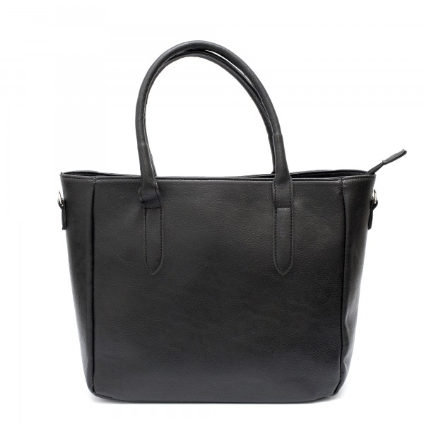 Класическа дамска чанта от еко кожа в черен цвят с дълга дръжка-1740