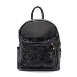 Ежедневна дамска раница в черно и камуфлаж от еко кожа-84