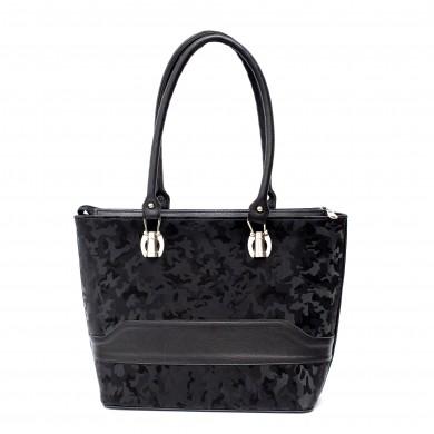 Елегантна ежедневна дамска чанта от гладка кожа и камуфлаж-1753