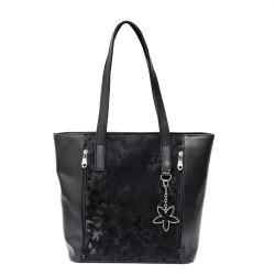 Ежедневна дамска чанта в комбинация от гладка кожа и камуфлаж-94