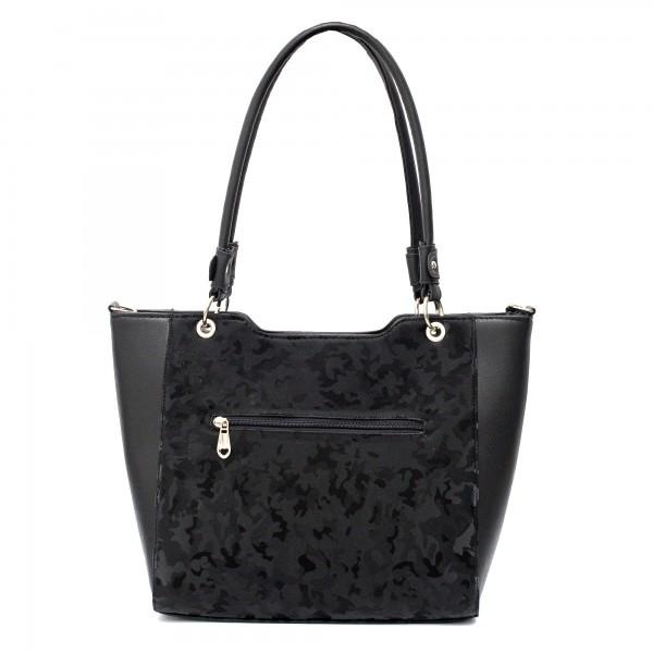 Модерна дамска черна чанта от еко кожа-1752