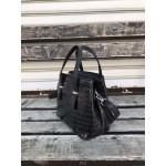Малка дамска чанта от еко кожа в черно с кроко мотиви-1414-1