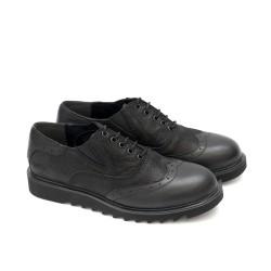 Дамски обувки в черно с връзки от естествена кожа-306