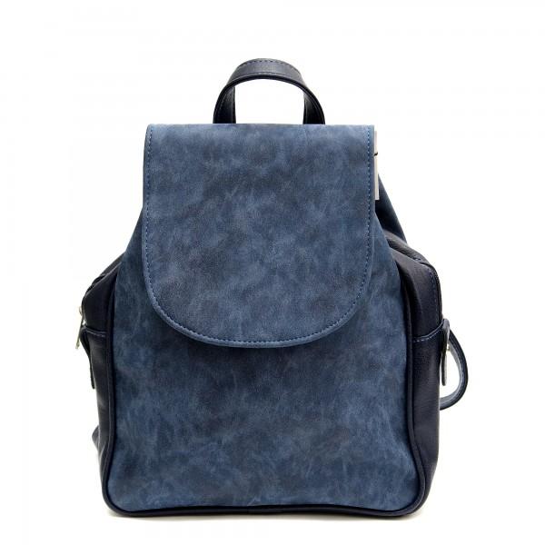 Дамска мултифункционална ежедневна раница от мека еко кожа в син цвят-936
