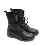 Черни високи дамски боти от естествена кожа с цип-906