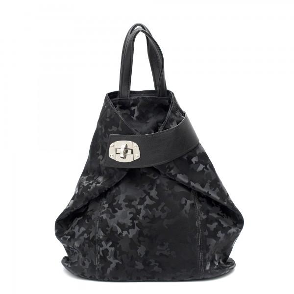 Дамска ежедневна раница в черен цвят и камуфлажен ефект от еко кожа-1116