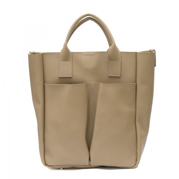 Дамска чанта в цвят капучино с интересен дизайн от еко кожа-154