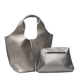 Дамска чанта тип торба в сиво от еко кожа с практичен органайзер-439
