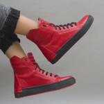 Дамски ежедневни кецове от естествена кожа в червен цвят-727