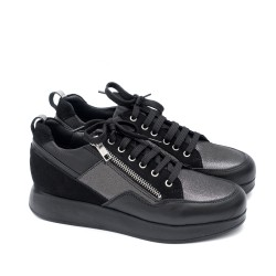 Удобни дамски обувки от естествена кожа и естествен велур в черно и графит-1764