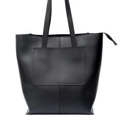 Дамска чанта в класически черен цвят от еко кожа с изчистен дизайн от еко кожа-239