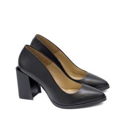 Дамски обувки на висок модерен дебел ток в черен цвят от естествена кожа-1773