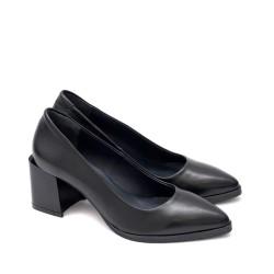 Елегантни дамски обувки от естествена кожа с широк модерен ток-1774