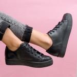 Есенни ежедневни черни обувки от естествена кожа с връзки-1771