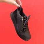 Есенни ежедневни черни дамски обувки от естествена кожа, велур и питон с връзки-1780