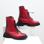 Дамски боти от ествествена кожа в червен цвят с пръскан черен ефект на удобно ходило-1776