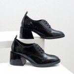 Елегантни дамски обувки тип оксфорд от естествена кожа флорентик на модерен среден ток-1785