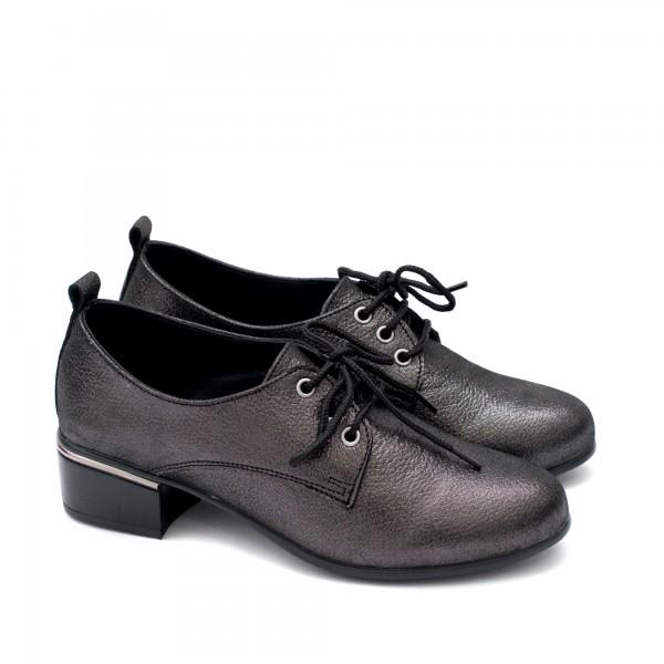 Ежедневни сиви дамски обувки от естествена кожа на нисък ток с връзки-1789