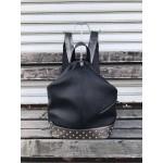 Ежедневна дамска раница в черно и сиво с малки капси от еко кожа-1430