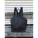 Модерна дамска раница от еко кожа в черен цвят и капси-1429