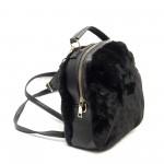 Дамска малка чанта-раница от еко кожа и пух в черен цвят-1413