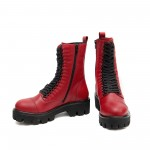 Дамски непромокаеми дамски боти в червен цвят с грайферно ходило и активен цип-1437