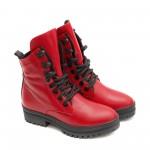 Червени дамски боти с непромокаемо ходило с връзки и цип от естествена кожа-1451
