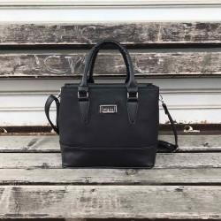 Модерна дамска чанта тип куфарче от еко кожа в черен цвят-935