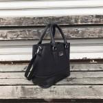 Модерна дамска чанта тип куфарче от еко кожа в черен цвят-180-3