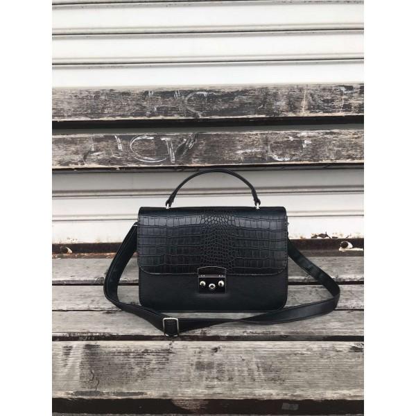 Дамска чанта от еко кожа в черно-1212-1