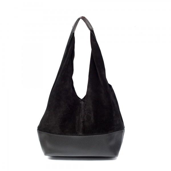 Удобна черна дамска чанта от естествен велур-944
