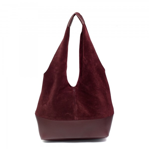 Дамска ежедневна чанта от естествен велур бордо-944
