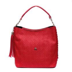 Червена дамска чанта от еко кожа с ефектни синджири-974