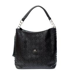 Модерна дамска черна чанта от еко кожа-973