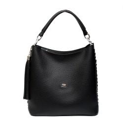 Черна елегантна дамска чанта от еко кожа-972