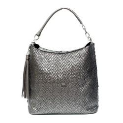 Дамска сива чанта от еко кожа с елегантен дизайн-975