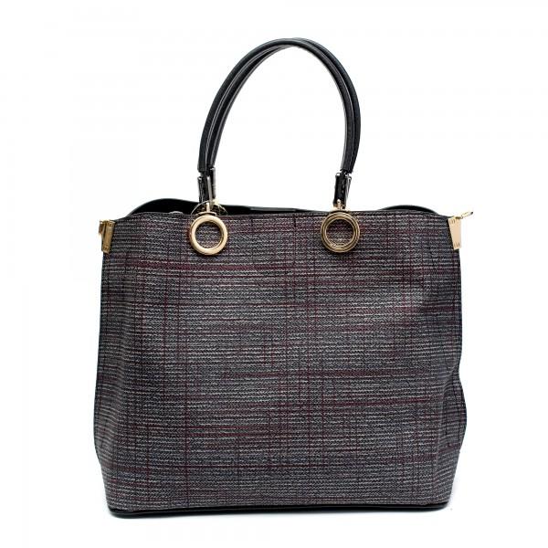 Елегантна дамска чанта от еко кожа каре с златни акценти-0999