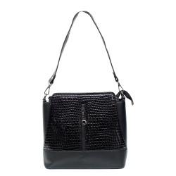 Дамска черна ежедневна чанта от еко кожа и лак-1006