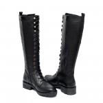 Дамски черни ботуши от естествена кожа с връзки и цип на удобен ток-1009