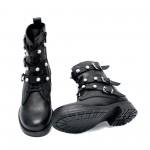 Черни дамски боти от естествена кожа с модерни връзки и цип-1010