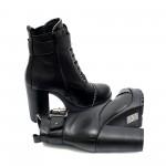 Елегантни дамски черни боти от естествена кожа с висок ток-1012