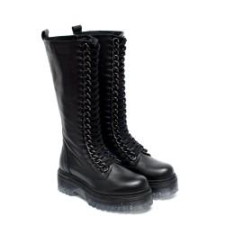 Черни дамски ботуши от естествена кожа с силиконово дебело ходило и грайфер-1007