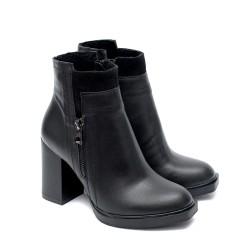 Елегантни черни дамски боти от естествена кожа с висок ток-1019