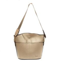 Златна малка кокетна чанта от еко кожа с ефектна дръжка-965