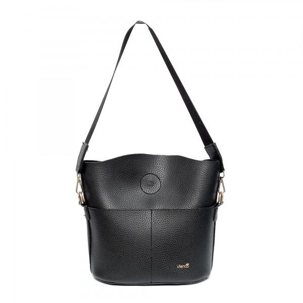 Черна малка ежедневна чанта от еко кожа-960