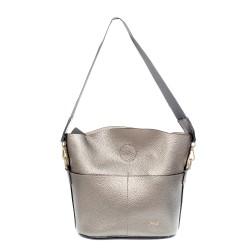 Дамска сива чанта от еко кожа с ефектна стабилна дръжка-0964