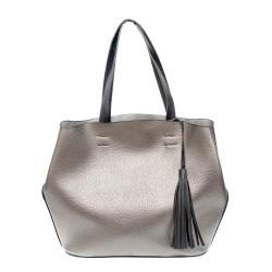 Сива стилна дамска чанта от еко кожа-0980