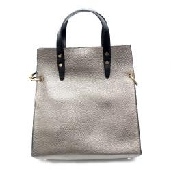 Сребриста ежедневна дамска чанта от еко кожа-967
