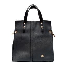 Черна ежедневна дамска чанта от еко кожа-966