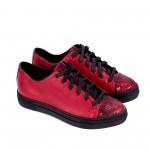 Червени есенни дамски обувки от естествена кожа и змийска шарка-1025